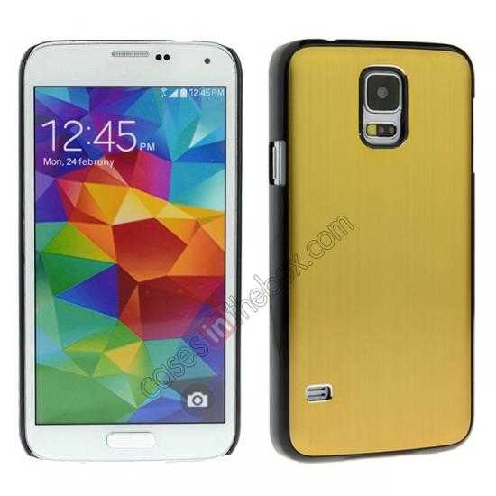 wholesale Brushed Aluminium Hard Back Cover Case for Samsung Galaxy S5 - Golden