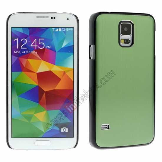 wholesale Brushed Aluminium Hard Back Cover Case for Samsung Galaxy S5 - Green