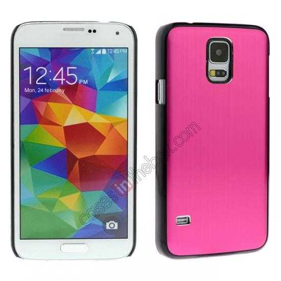 wholesale Brushed Aluminium Hard Back Cover Case for Samsung Galaxy S5 - Hot pink