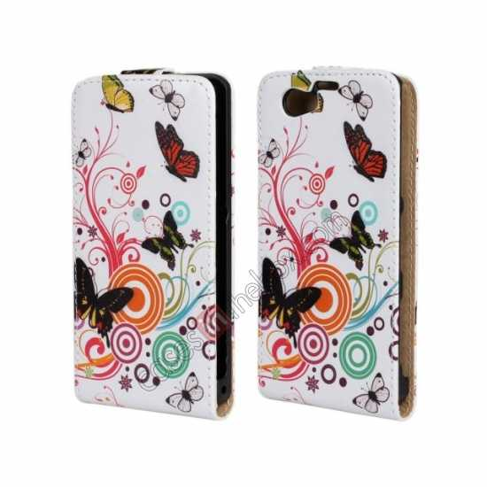 wholesale Butterfly and Swirl Tree Pattern Top Flip Leather Case Cover for Sony Xperia Z1 Compact(M51W)
