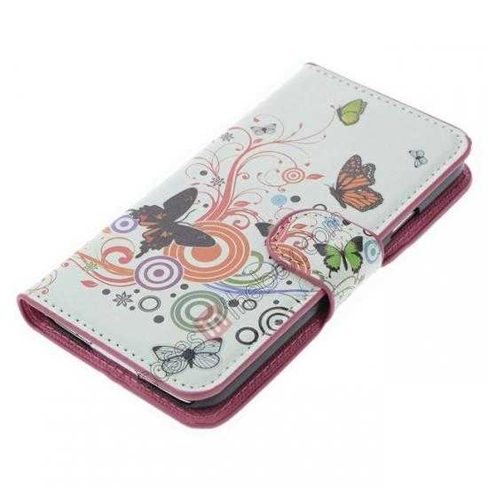 top quality Colorful Butterfly Pattern Wallet Style Stand Leather Case For Samsung Galaxy S5