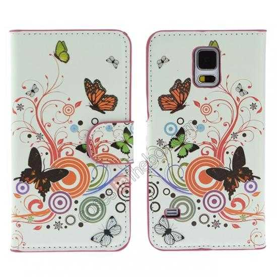 wholesale Colorful Butterfly Pattern Wallet Style Stand Leather Case For Samsung Galaxy S5