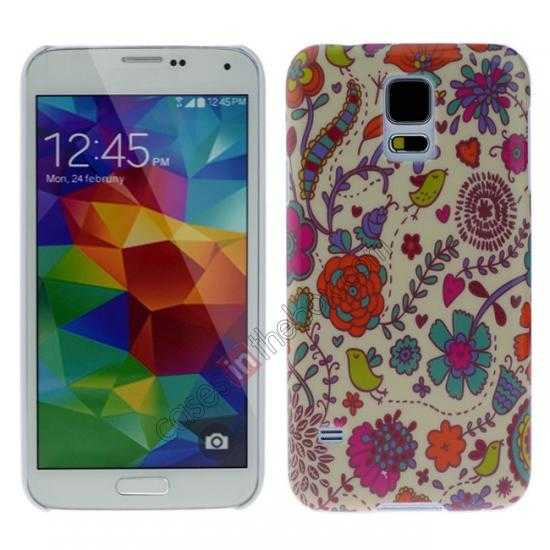 wholesale Colorful Flower Pattern Hard Back Cover Case for Samsung Galaxy S5