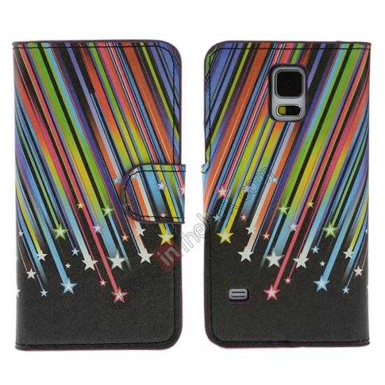 wholesale Colorful Meteor Pattern Wallet Style Stand Leather Case For Samsung Galaxy S5
