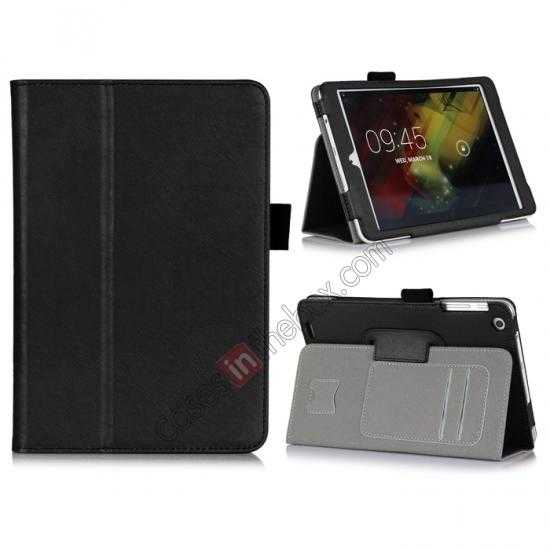 wholesale Cow Leather Pattern Folio Case stand cover for HP 8 1401 8 Tablet - Black
