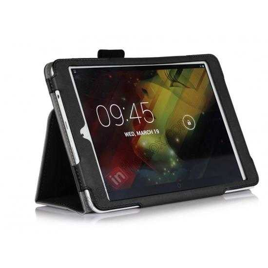 cheap Cow Leather Pattern Folio Case stand cover for HP 8 1401 8 Tablet - Black