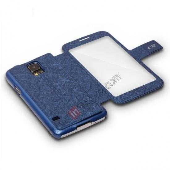 best price CR Full Window View Flip Leather Case Cover For Samsung Galaxy S5 - Blue