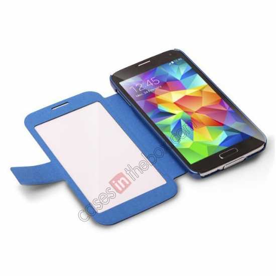 top quality CR Full Window View Flip Leather Case Cover For Samsung Galaxy S5 - Blue