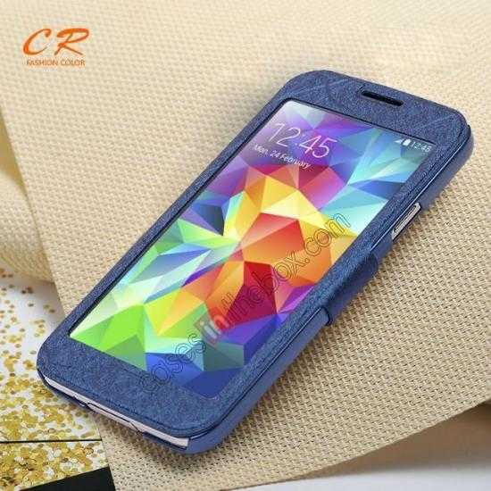 wholesale CR Full Window View Flip Leather Case Cover For Samsung Galaxy S5 - Blue