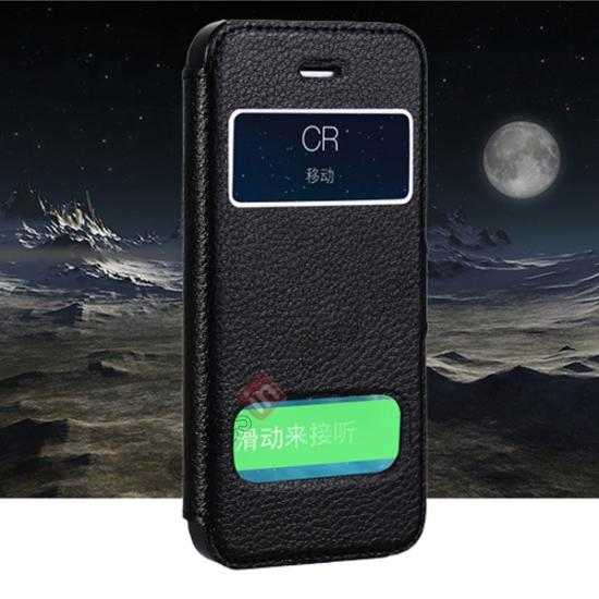 wholesale CR Genuine Leather S View Window Screen Flip Case for iPhone 5 5S - Black