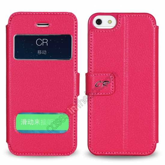 discount CR Genuine Leather S View Window Screen Flip Case for iPhone 5 5S - Black