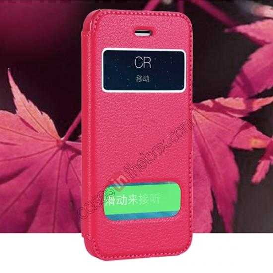 wholesale CR Genuine Leather S View Window Screen Flip Case for iPhone 5 5S - Hot pink