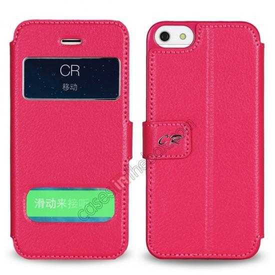 discount CR Genuine Leather S View Window Screen Flip Case for iPhone 5 5S - Hot pink