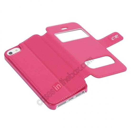 cheap CR Genuine Leather S View Window Screen Flip Case for iPhone 5 5S - Hot pink