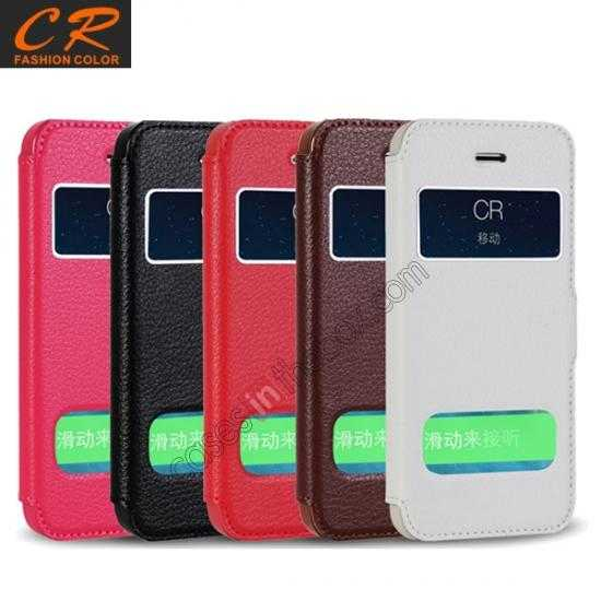top quality CR Genuine Leather S View Window Screen Flip Case for iPhone 5 5S - Hot pink
