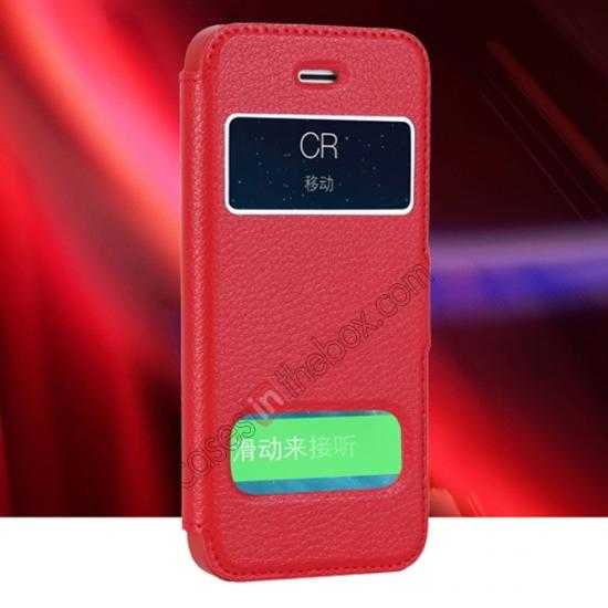 wholesale CR Genuine Leather S View Window Screen Flip Case for iPhone 5 5S - Red