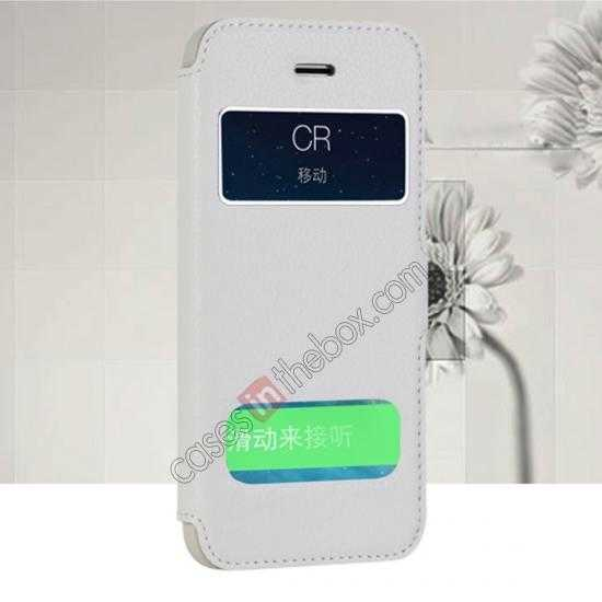 wholesale CR Genuine Leather S View Window Screen Flip Case for iPhone 5 5S - White