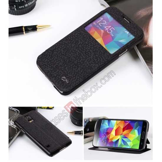 discount CR Window View Slim Flip Leather Case Cover for Samsung Galaxy S5 - Black