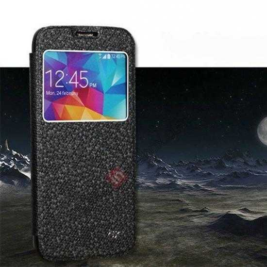 wholesale CR Window View Slim Flip Leather Case Cover for Samsung Galaxy S5 - Black