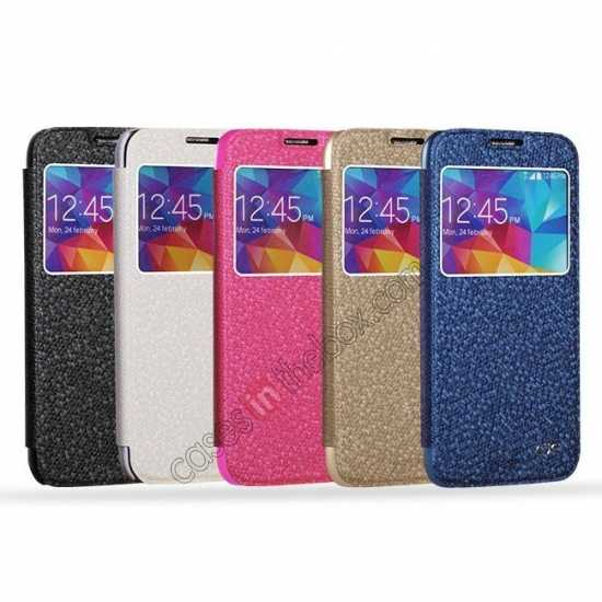 low price CR Window View Slim Flip Leather Case Cover for Samsung Galaxy S5 - Blue