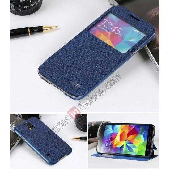 discount CR Window View Slim Flip Leather Case Cover for Samsung Galaxy S5 - Blue