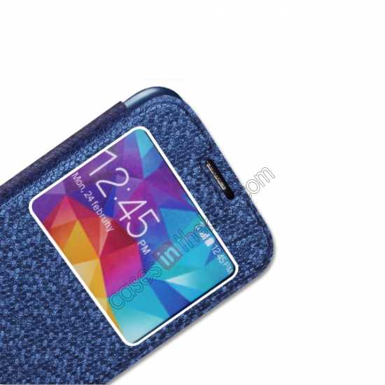 best price CR Window View Slim Flip Leather Case Cover for Samsung Galaxy S5 - Blue