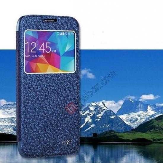 wholesale CR Window View Slim Flip Leather Case Cover for Samsung Galaxy S5 - Blue