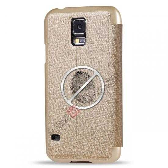 best price CR Window View Slim Flip Leather Case Cover for Samsung Galaxy S5 - Champagne Gold