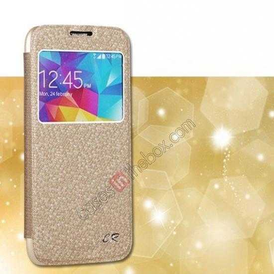 wholesale CR Window View Slim Flip Leather Case Cover for Samsung Galaxy S5 - Champagne Gold