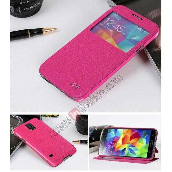 discount CR Window View Slim Flip Leather Case Cover for Samsung Galaxy S5 - Hot pink