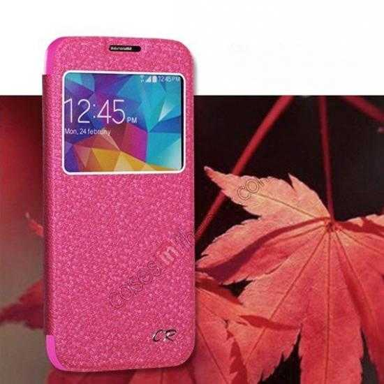 wholesale CR Window View Slim Flip Leather Case Cover for Samsung Galaxy S5 - Hot pink