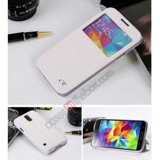 discount CR Window View Slim Flip Leather Case Cover for Samsung Galaxy S5 - White