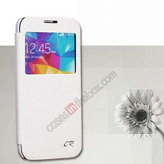wholesale CR Window View Slim Flip Leather Case Cover for Samsung Galaxy S5 - White