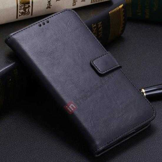 wholesale Crazy Horse Grain Leather Stand Case for Samsung Galaxy S5 With Card Holder - Black