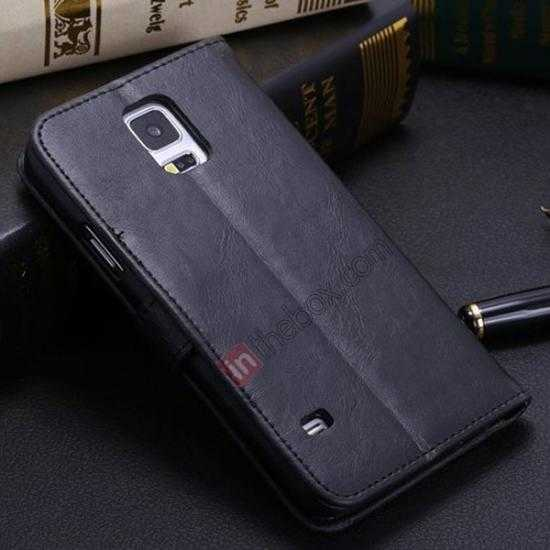 discount Crazy Horse Grain Leather Stand Case for Samsung Galaxy S5 With Card Holder - Black