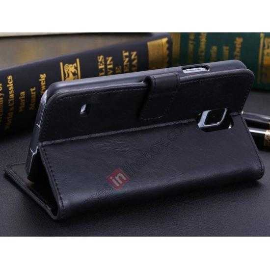cheap Crazy Horse Grain Leather Stand Case for Samsung Galaxy S5 With Card Holder - Black