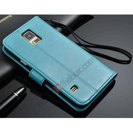 wholesale Crazy Horse Grain Leather Stand Case for Samsung Galaxy S5 with Card Holder - Blue