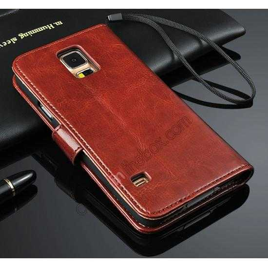wholesale Crazy Horse Grain Leather Stand Case for Samsung Galaxy S5 with Card Holder - Brown