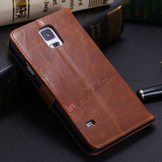 discount Crazy Horse Grain Leather Stand Case for Samsung Galaxy S5 With Card Holder - Brown