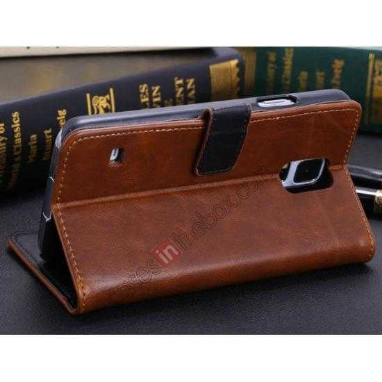 cheap Crazy Horse Grain Leather Stand Case for Samsung Galaxy S5 With Card Holder - Brown