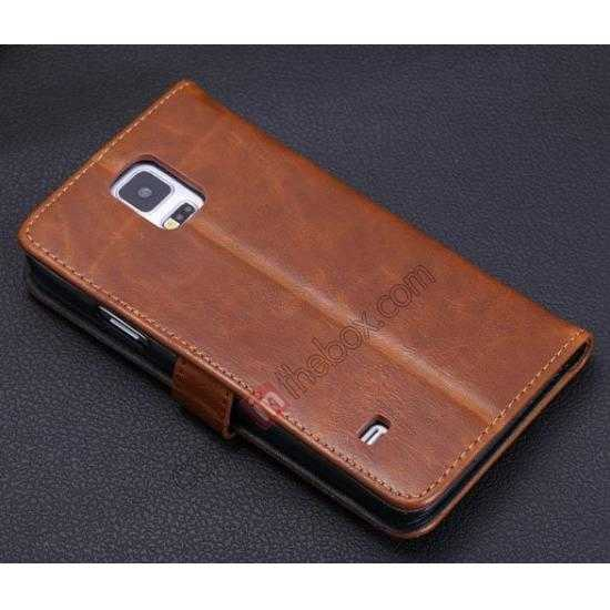 on sale Crazy Horse Grain Leather Stand Case for Samsung Galaxy S5 With Card Holder - Brown