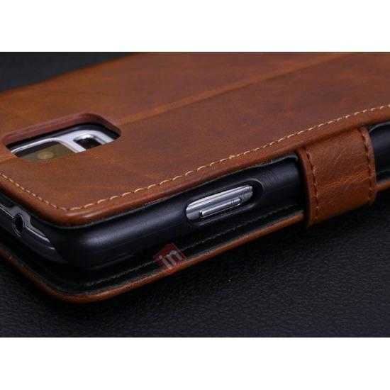 low price Crazy Horse Grain Leather Stand Case for Samsung Galaxy S5 With Card Holder - Brown