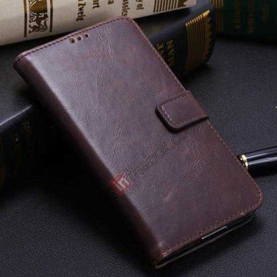 wholesale Crazy Horse Grain Leather Stand Case for Samsung Galaxy S5 With Card Holder - Dark Brown