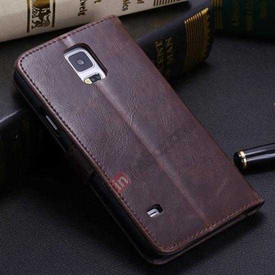 discount Crazy Horse Grain Leather Stand Case for Samsung Galaxy S5 With Card Holder - Dark Brown