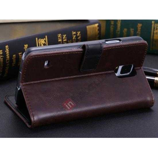 cheap Crazy Horse Grain Leather Stand Case for Samsung Galaxy S5 With Card Holder - Dark Brown