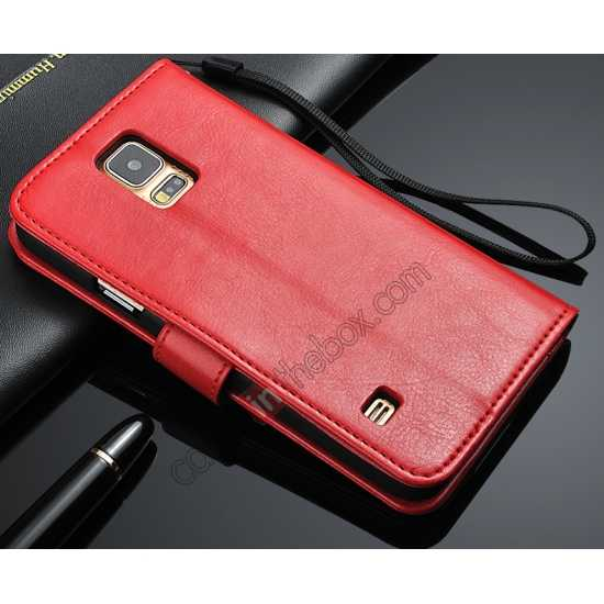 wholesale Crazy Horse Grain Leather Stand Case for Samsung Galaxy S5 with Card Holder - Red