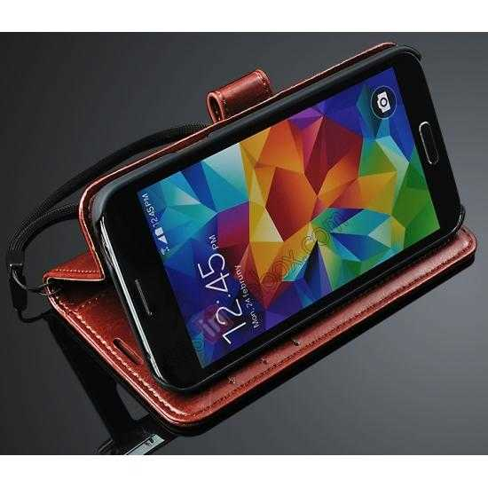 discount Crazy Horse Grain Leather Stand Case for Samsung Galaxy S5 with Card Holder - Red