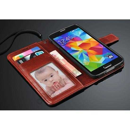 top quality Crazy Horse Grain Leather Stand Case for Samsung Galaxy S5 with Card Holder - Red