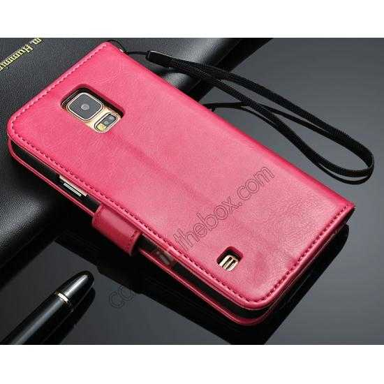 wholesale Crazy Horse Grain Leather Stand Case for Samsung Galaxy S5 with Card Holder - Rose