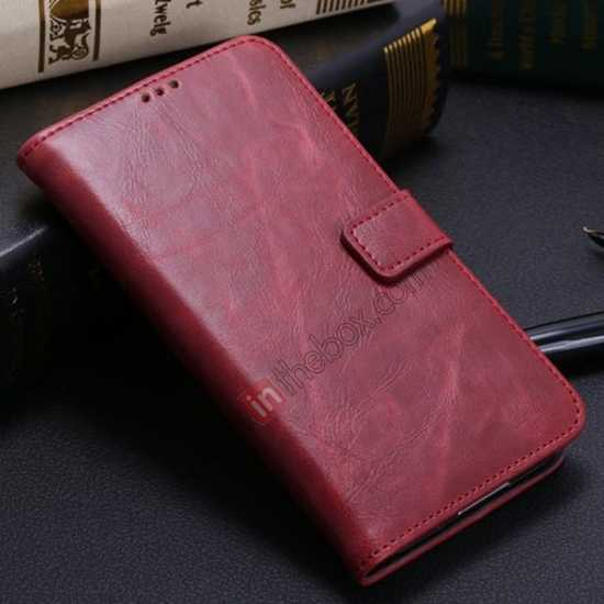 wholesale Crazy Horse Grain Leather Stand Case for Samsung Galaxy S5 With Card Holder - Wine Red
